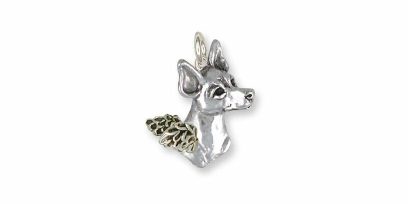 Rat Terrier Angel Charm Jewelry Sterling Silver Handmade Dog Charm RTT2-AC