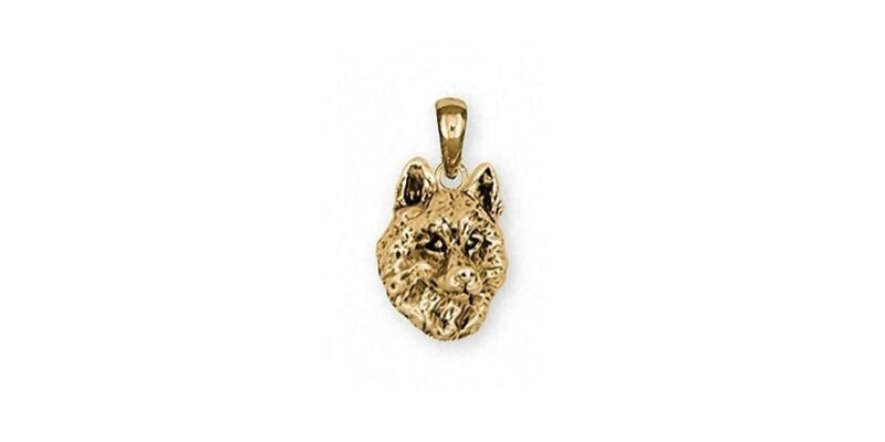 Siberian Husky Pendant Jewelry 14k Gold Handmade Dog Pendant SB3-PG