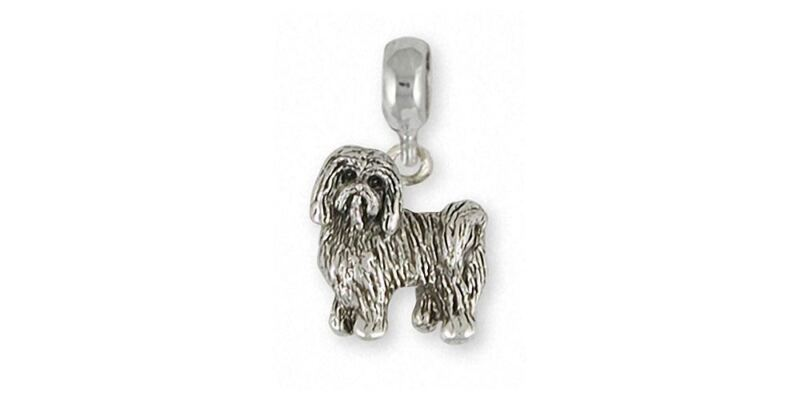 Tibetan Terrier Charm Slide Jewelry Sterling Silver Handmade Dog Charm Slide TTR
