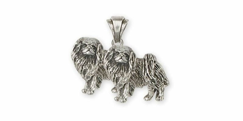 Double Japanese Chin Pendant Jewelry Sterling Silver Handmade Dog Pendant JC8-2P
