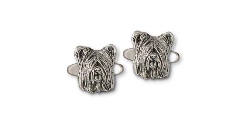 Skye Terrier Cufflinks Jewelry Sterling Silver Handmade Dog Cufflinks SKY4-CL