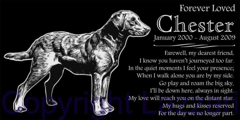 Personalized Chesapeake Bay Retriever Pet Dog Memorial 12x6 Granite Grave Marker
