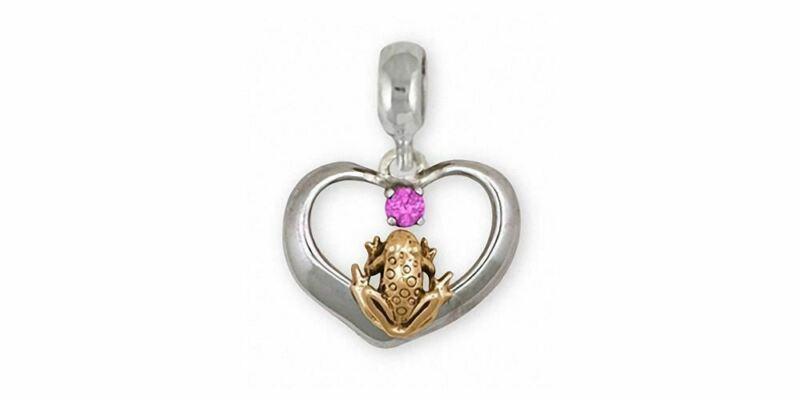 Frog Charm Slide Jewelry Silver And Gold Handmade Frog Charm Slide FGH1-TTSPNS
