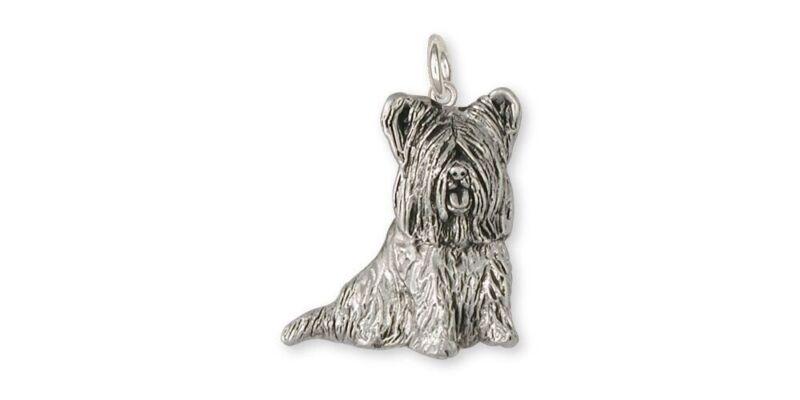 Skye Terrier Charm Jewelry Sterling Silver Handmade Dog Charm SKY3-C
