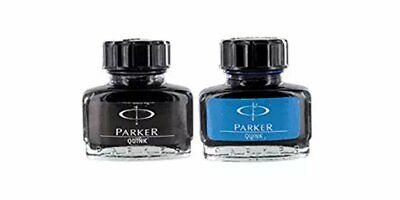 Parker Quink Fountain Pen Ink Bottle 30ml Blue & Black Ink Set of 2 Free Ship