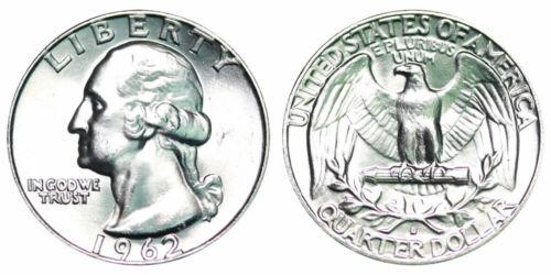 1962 D Washington Quarter BU 90% Silver US Coin