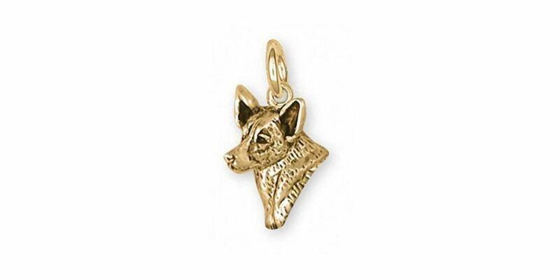 Australian Cattle Dog Charm Jewelry 14k Gold Handmade Dog Charm ACD2-CG