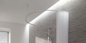 Semi-circular above-bath stainless steel shower rail and curtain hooks