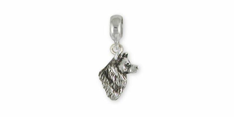 Alaskan Malamute Charm Slide Jewelry Sterling Silver Handmade Dog Charm Slide MA