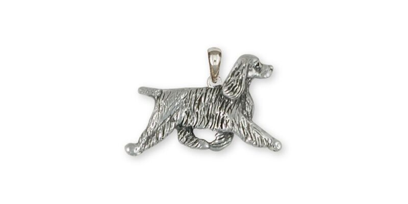 Springer Spaniel Pendant Jewelry Sterling Silver Handmade Dog Pendant SS8-P