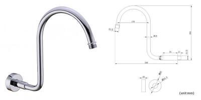HANEBATH Brass GOOSENECK Extension Shower Arm with 0.5-14 NPT Male, Chrome  0.5 Brass Shower Arm