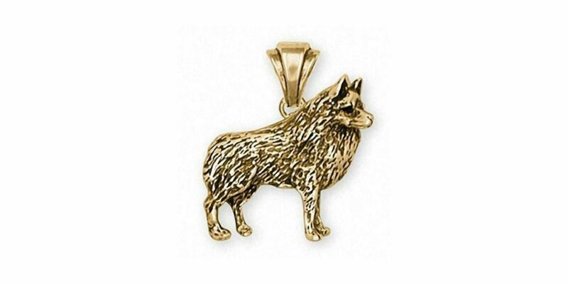 Schipperke Jewelry 14k Gold Schipperke Pendant Handmade Dog Jewelry SC4-PG