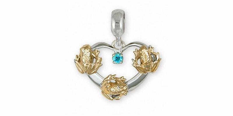 Frog Charm Slide Jewelry Silver And Gold Handmade Frog Charm Slide FG20-TTSPNS
