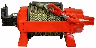 Hydraulic Winch - 29700 Lbs Cap - 13.5 Tons - Air Manual Clutch - Commercial