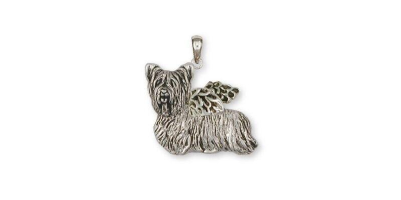 Skye Terrier Angel Pendant Jewelry Sterling Silver Handmade Dog Pendant SKY1-AP