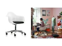 Vitra Eames Plastic Armchair PACC Office Chair White Pivot Castors Fabric Seat