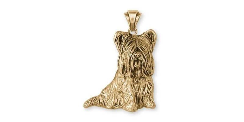 Skye Terrier Pendant Jewelry Gold Vermeil Handmade Dog Pendant SKY3-PVM