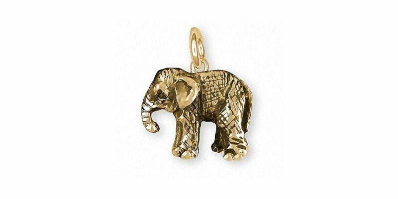 Baby Elephant Charm Jewelry 14k Gold Handmade Wildlife Charm EL9B-CG