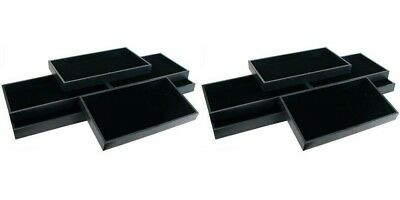 12 Black Leatherette Wood Display Trays With Black Pads Jewelry Medals Pins