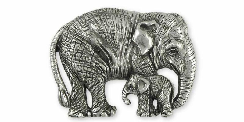Asian Elephant And Baby Pendant Jewelry Sterling Silver Handmade Wildlife Pendan