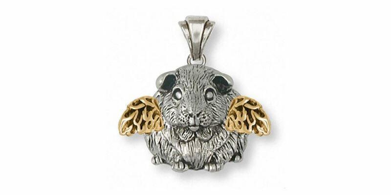 Guinea Pig Angel Pendant Jewelry Silver And Gold Handmade Piggie Pendant GP1-TNA