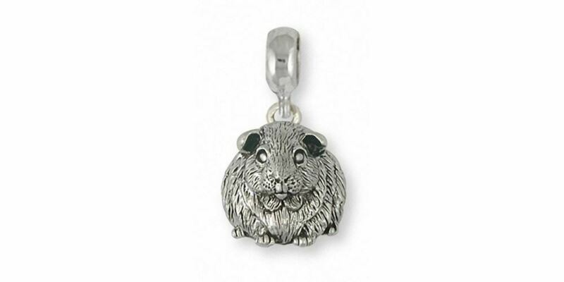 Guinea Pig Charm Slide Jewelry Sterling Silver Handmade Piggie Charm Slide GP12X