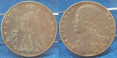 Probe Weimar 3 Mark 1925D Motivprobe in Silber VS und RS neues Design vz-st