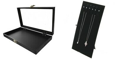 Necklace Glass Top Lid Display Case With Removable Necklace Easel Stand