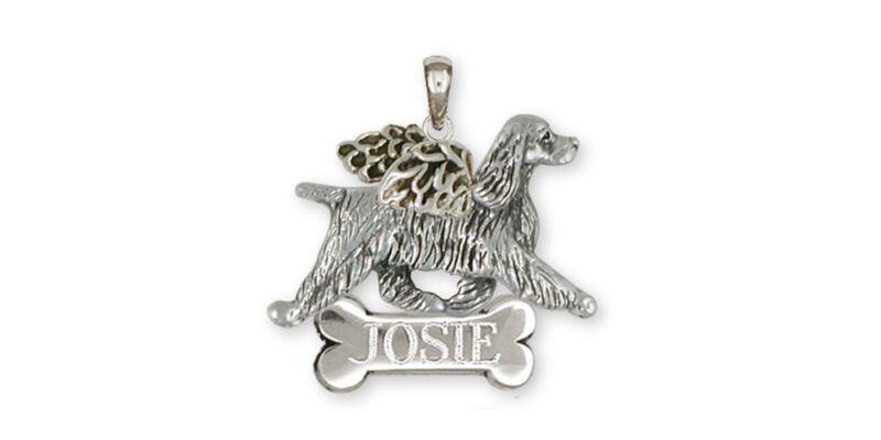 Springer Spaniel Angel Pendant Jewelry Sterling Silver Handmade Dog Pendant SS8-