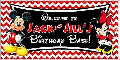 Mickey and Minnie Birthday Banner Custom Party - Mickey And Minnie Birthday Party