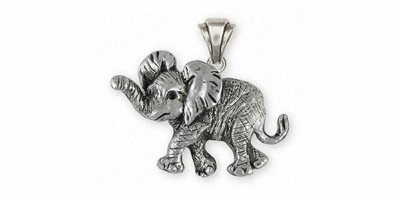Elephant Jewelry Sterling Silver Elephant Pendant Handmade Wildlife Jewelry EL3-