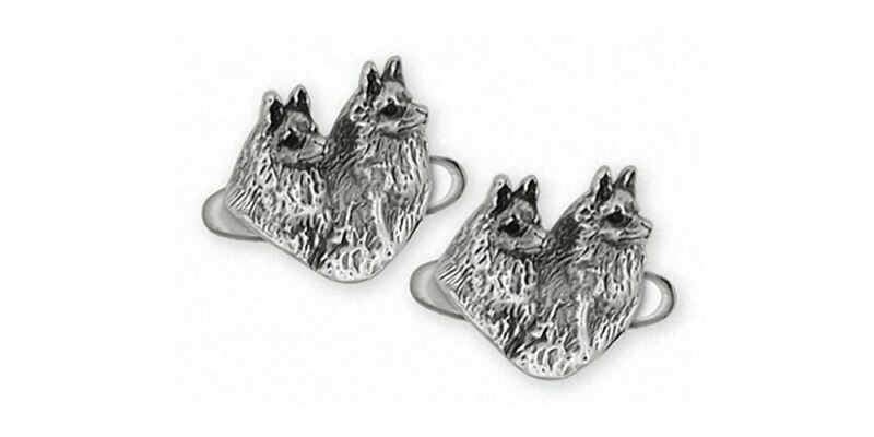 Schipperke Jewelry Sterling Silver Schipperke Cufflinks Handmade Dog Jewelry SC6