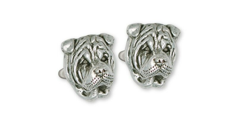 Shar Pei Cufflinks Jewelry Sterling Silver Handmade Dog Cufflinks SHP5-CL