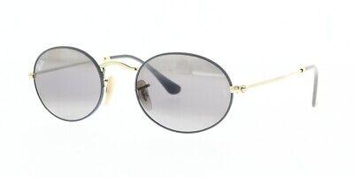 RAY-BAN RB3547 9154AH 51 Matte Grey Gold Oval Flat Lenses Sunglasses (Ray Ban Oval Flat Sunglasses)