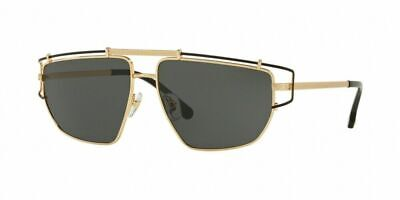 Versace Sunglasses VE2202 143687 Gold Frame W/ Grey Lens NEW IN BOX