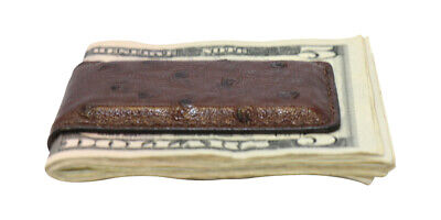 - Dark Brown Distressed Genuine Ostrich Skin Magnetic Money Clip - MADE IN THE USA