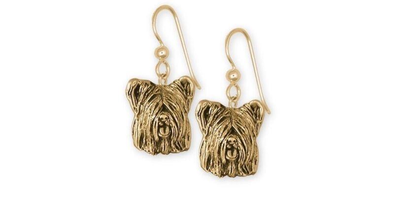 Skye Terrier Earrings Jewelry Gold Vermeil Handmade Dog Earrings SKY4-EVM