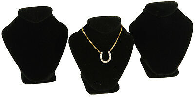 3 Black Velvet Necklace Jewelry Display Busts 2 58