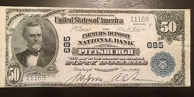 Reproduction  50 National Bank Note 1902 Farmers Deposit Bank Pittsburgh  Pa