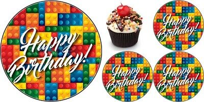 Lego Geburtstag Eßbar Tortendeko Tortenaufleger Party Deko Muffinaufleger Bild