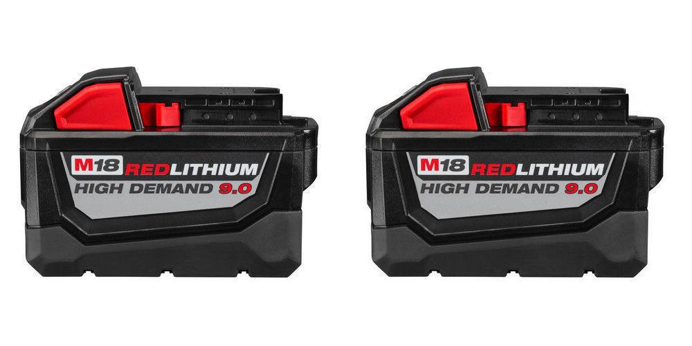 TWO Milwaukee M18 REDLITHIUM HD 18V 9.0 Ah Li-Ion Batteries New 48-11-1890