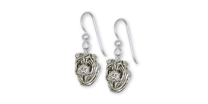 Shar Pei Earrings Jewelry Sterling Silver Handmade Dog Earrings SHP2-E