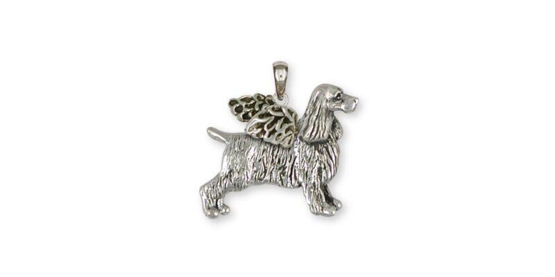 Springer Spaniel Angel Pendant Jewelry Sterling Silver Handmade Dog Pendant SS7-