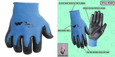 Wells Lamont Nitrile-coated Work Gloves Youth Ages 4 8-10 Bluepink