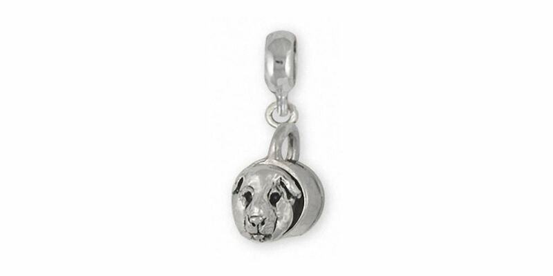 Guinea Pig Charm Slide Jewelry Sterling Silver Handmade Piggie Charm Slide GP12-