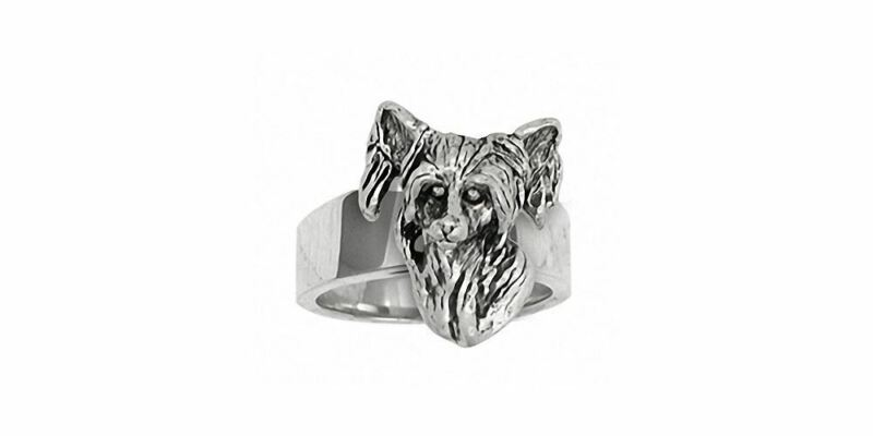 Chinese Crested Ring Jewelry Sterling Silver Handmade Dog Ring CC1-R
