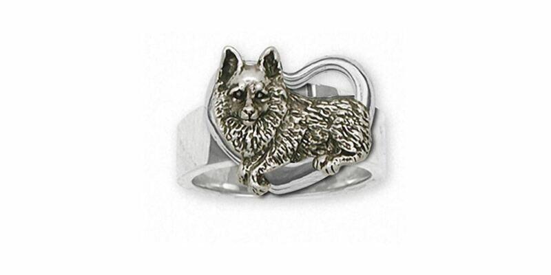 Schipperke Jewelry Sterling Silver Schipperke Ring Handmade Dog Jewelry SC5-R