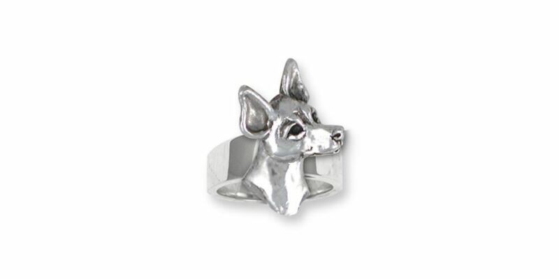 Rat Terrier Ring Jewelry Sterling Silver Handmade Dog Ring RTT2-R