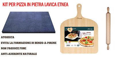 Kit per pizza in pietra lavica  piastra forno + mattarello + paletta prendipizza