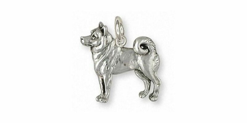 Shiba Inu Charm Jewelry Sterling Silver Handmade Dog Charm SI42X-C